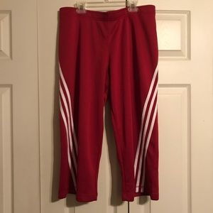 ADIDAS Women's Size Large Red White Capri Pants